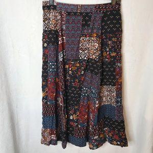 Vintage   Mixed Print Patchwork Midi Skirt
